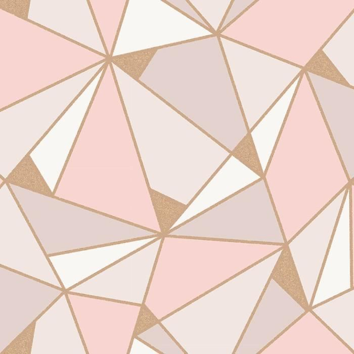 Trance Geometrique Papier Peint Blush Or Rose Fine Decor M1431