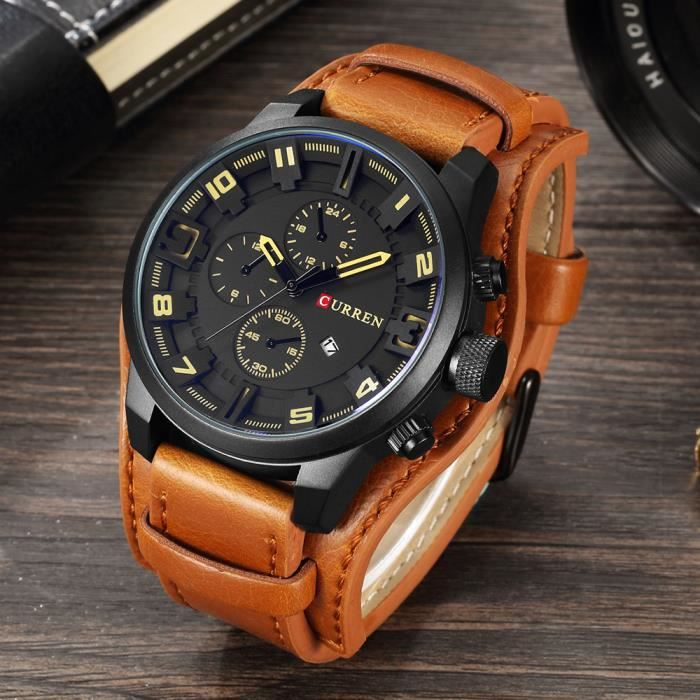 hommes montres bracelet en cuir quartz montres bracelets montre sport militaire masculin avec. Black Bedroom Furniture Sets. Home Design Ideas