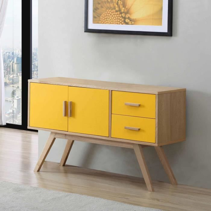 buffet en bois largeur 120cm avec 2 portes et 2 tiroirs vintage jaune achat vente buffet. Black Bedroom Furniture Sets. Home Design Ideas