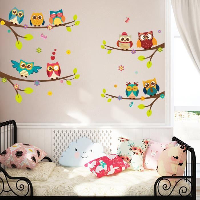 A 848-Adorable Hibou Chouettes Autocollant des autocollants Owls Mural Sticker
