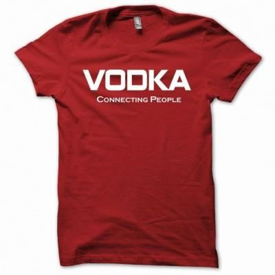 tee shirt avec le texte vodka connecting people rouge achat vente t shir. Black Bedroom Furniture Sets. Home Design Ideas