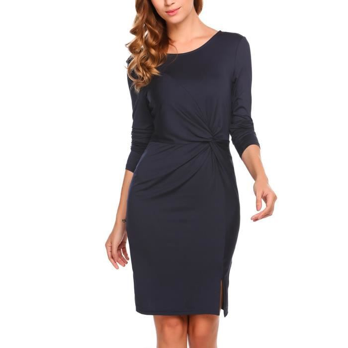Robe col-O mince sexy manches longues