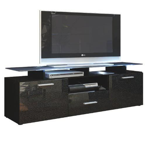 meuble tv noir mat et noir m tallique laqu avec led 146 cm achat vente meuble tv meuble tv. Black Bedroom Furniture Sets. Home Design Ideas