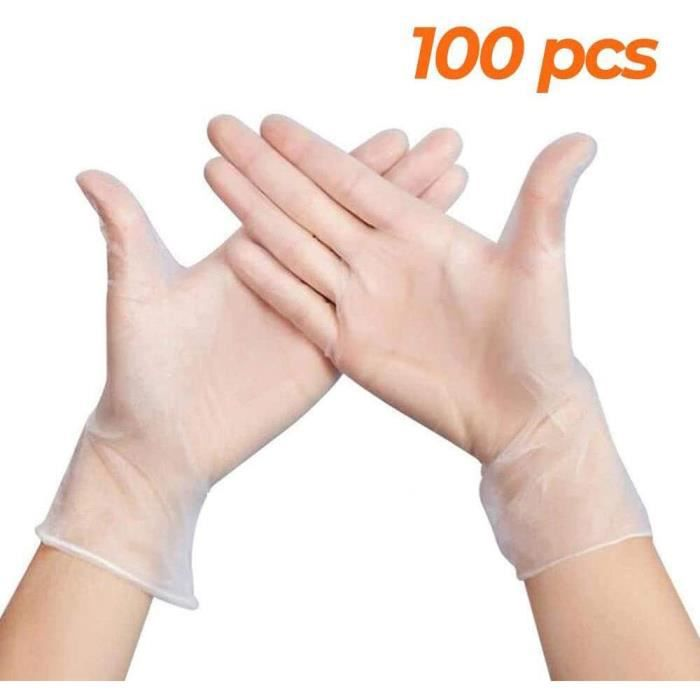 Lot de 100 Gants en Latex sans Poudre Texture Blanc