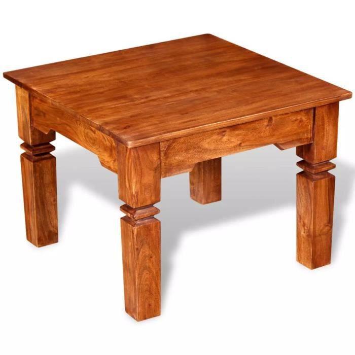 Table Basse Table De Salon Carré Bois Massif 60 X 60 X 45 Cm Facile à Assembler