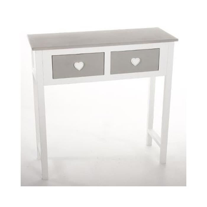 console blanc en bois massif avec 2 tiroirs gris h80 x. Black Bedroom Furniture Sets. Home Design Ideas