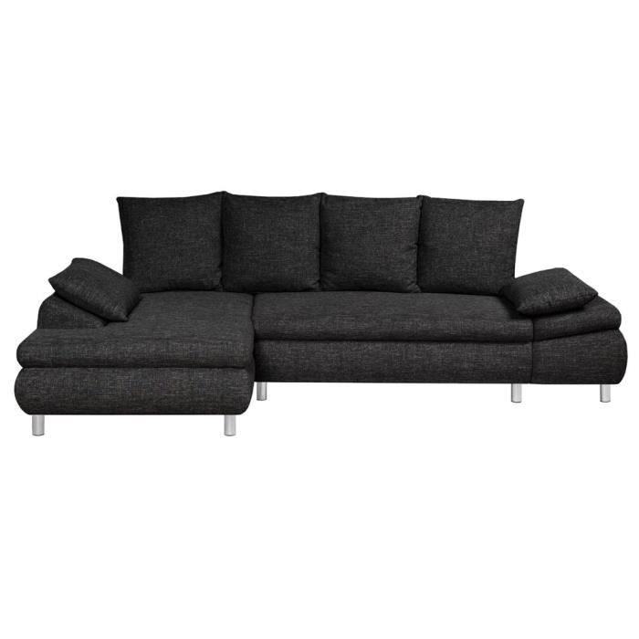 canap d 39 angle gauche convertible switsofa naho tissu noir achat vent. Black Bedroom Furniture Sets. Home Design Ideas