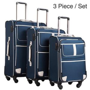 SET DE VALISES L03-Bleu Ensemble de 3 valises Trolley PC Sac de v