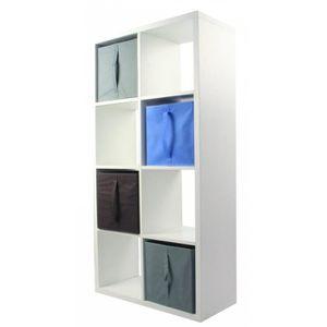 MEUBLE ÉTAGÈRE COMPO Meuble De Rangement Blanc 8 cases + 4 cubes