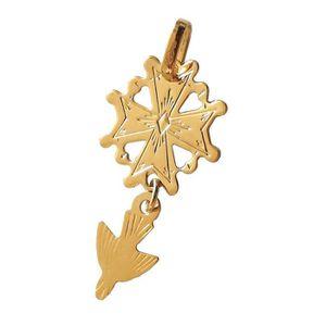 PENDENTIF VENDU SEUL DIAMANTLY Pendentif croix huguenote or 750/1000° (