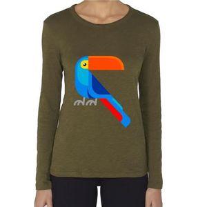 T-SHIRT T-Shirt premium - Manche Longue - Femme - vert caq