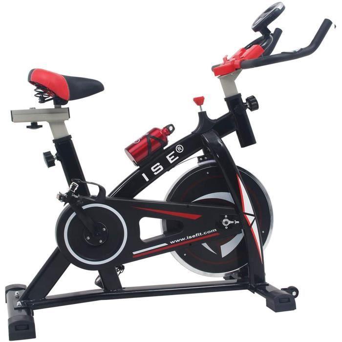 ISE Vélo D'appartement Ergomètre Cardio Vélo Biking Exercice de Fitness d'aérobie, Silencieux, Poids d'inertie 13 KG,SY-7802