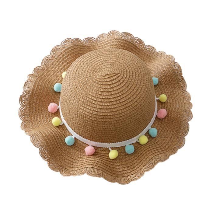 Soins bébéBébé d'été bébé enfants filles respirant soleil gland boules chapeau de paille chapeau de plage WXL90603084KH_sim