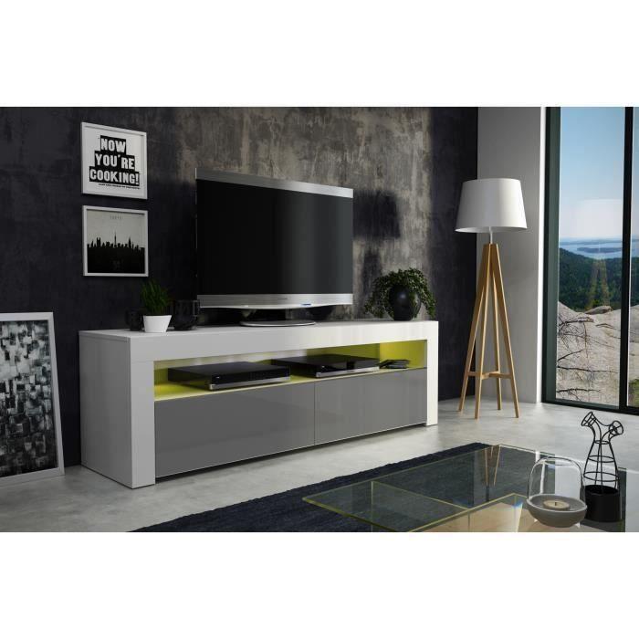 Meuble tv 157 cm blanc mat et gris laqué + led RGB