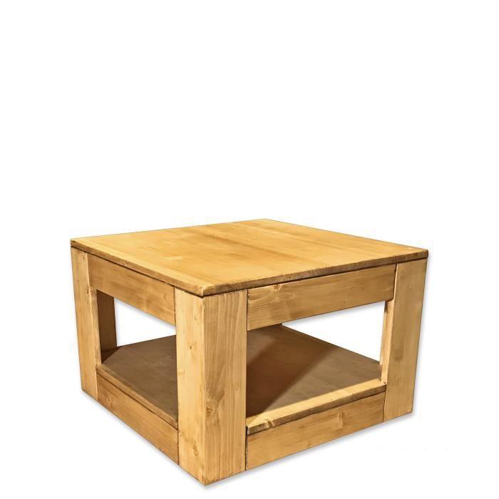 TABLE BASSE Carrée à roulettes 60x60 cm