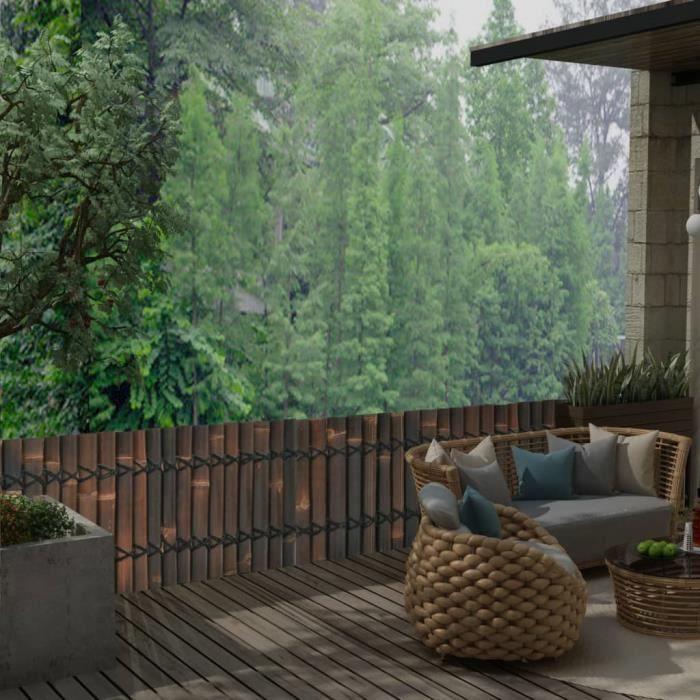 ♫7357 Panneau de jardin Classique - Clôture de jardin Brise vue - Bambou 170x50 cm Marron foncé FNCM®
