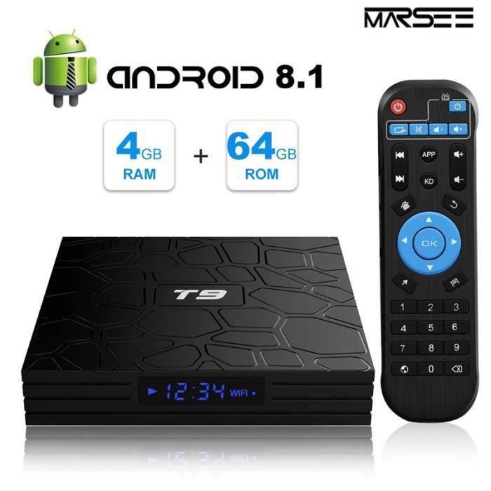 TV Box Android 8.1【4GB+64GB】 Q4 Max RK3328 Boîtier Smart TV Quad Core 64 Bits, Wi-FI 5GHz, BT 4.0, TV Box UHD 4K, USB 3.0