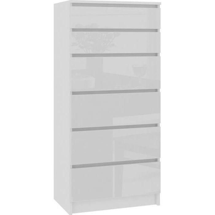 SKANDI - Commode contemporaine chambre + salon + bureau 130x60x40 cm - 6 tiroirs - Meuble design moderne - Chiffonier - Blanc laqué