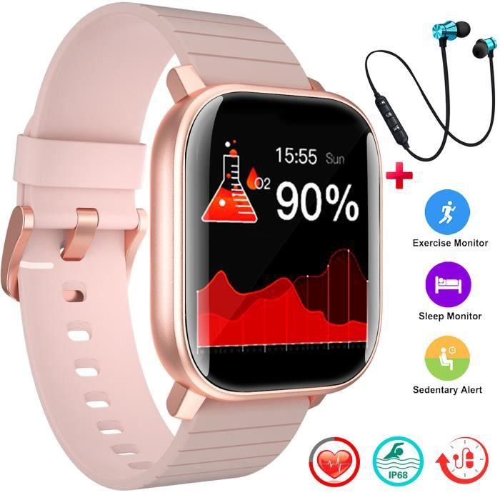 DUODUOGO Montre Connectée Femmes Bluetooth 5.0 IP68 étanche Smartwatch Sport +Casque Bluetooth+Sangle (Rose)