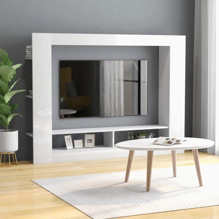 Meuble TV Blanc brillant 152x22x113 cm Aggloméré