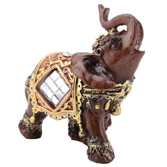 Garosa Sculpture d'éléphant Chanceux Feng Shui Bois Grain Éléphant Statue Sculpture Richesse Figurine Cadeau Décoration (S)