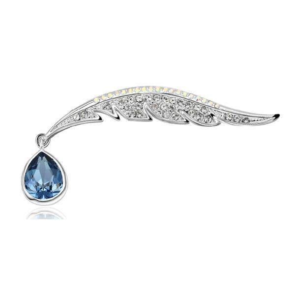 Broche Plume de Paon en Cristal Swarovski Elements Bleu