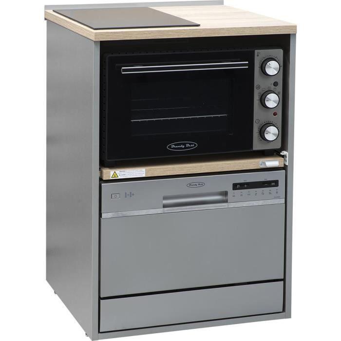 Brandy Best TRIO60S-ID-S Trio 60 cm tout-en-un avec domino induction, four et lave-vaisselle silver meuble chêne claire et silver