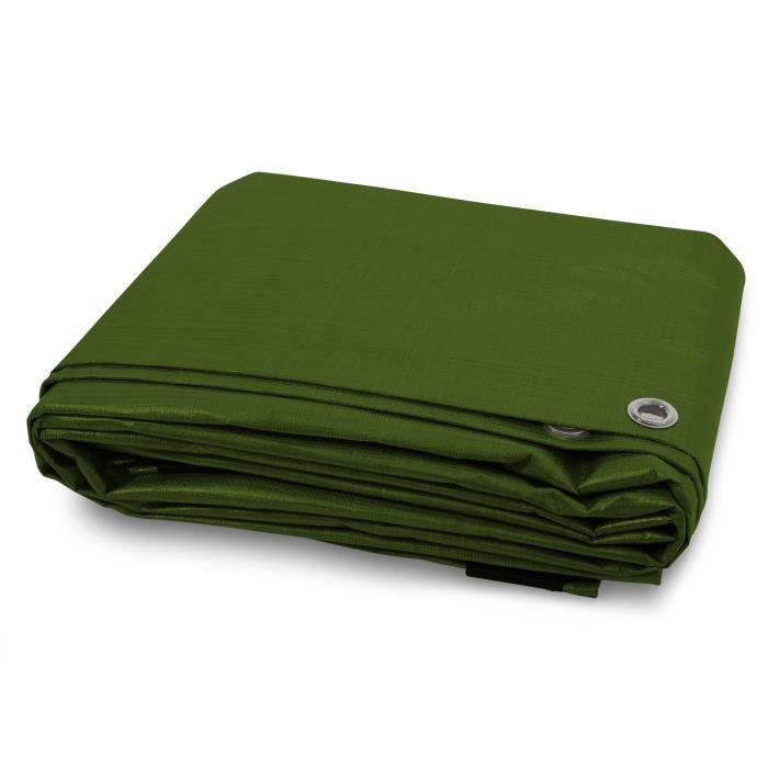 Bache de Protection - Vert 3x5 m - Bache Imperméable avec œillet - Densité 240g Résistante Eau & UV