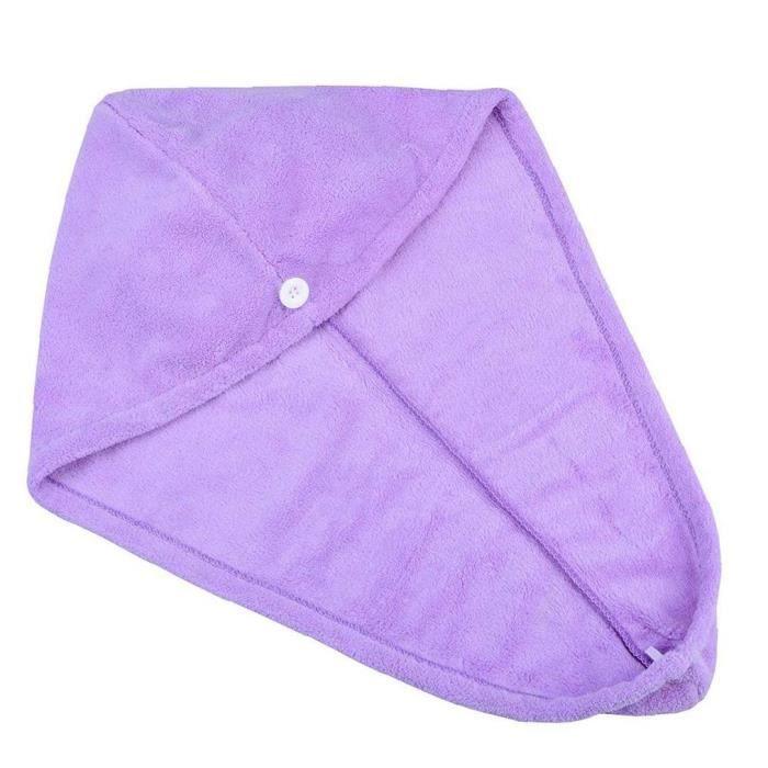 Séchage de cheveux Serviettes Microfibre Séchage rapide Serviettes Soins Serviette Cheveux Enveloppe Casquettes de bain Purple