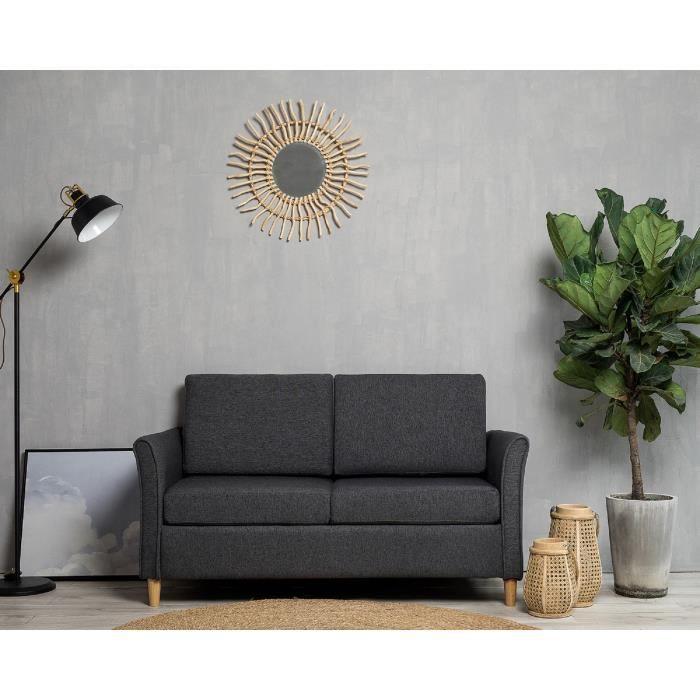 Laxllent Canapé 2 Places,123x25.5x70cm,Gris,Surface en Tissu Imitation Lin, Pieds en Bois,Montage Facile,pour Appartement,Chambre