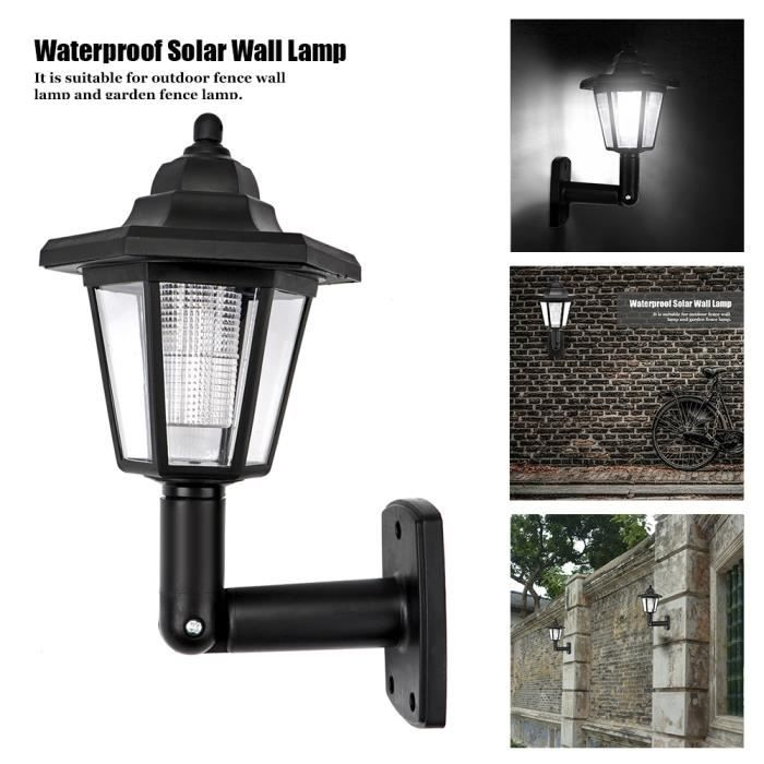 2pcs étanche LED solaire Lampe de mur Hexagonal Lumière froide Blanc Auto ON OFF nuit pour extérieur Paysage Jardin de Clôture