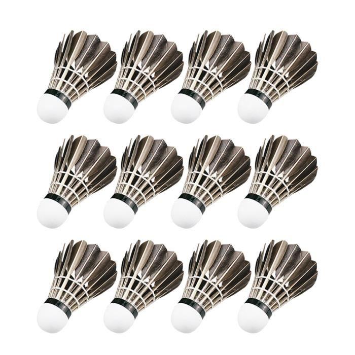 12 pcs - ensemble Volants De Badminton Pratique Oie Plume Balles De Badminton Sports De Plein Air Accessoires De Badminton-843