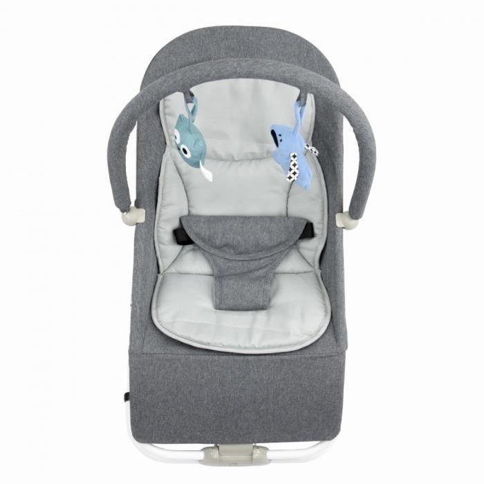 BOUNCER Transat pour bébé de 0 à 6 mois 0-9 kg Gris