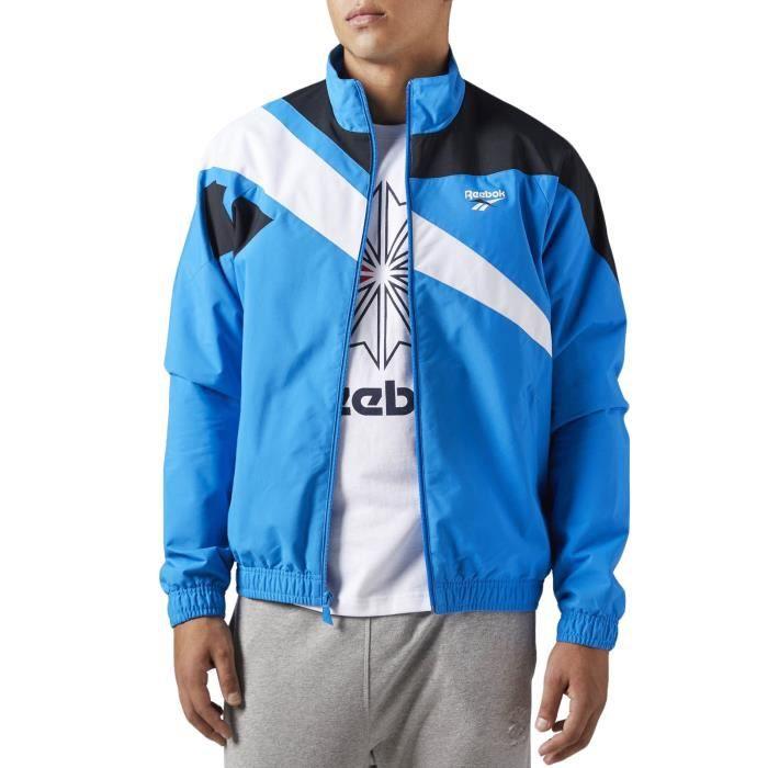 Reebok LF Tracktop TBC Homme veste de survêtement manches longues sport entièrement zippé - bleu -
