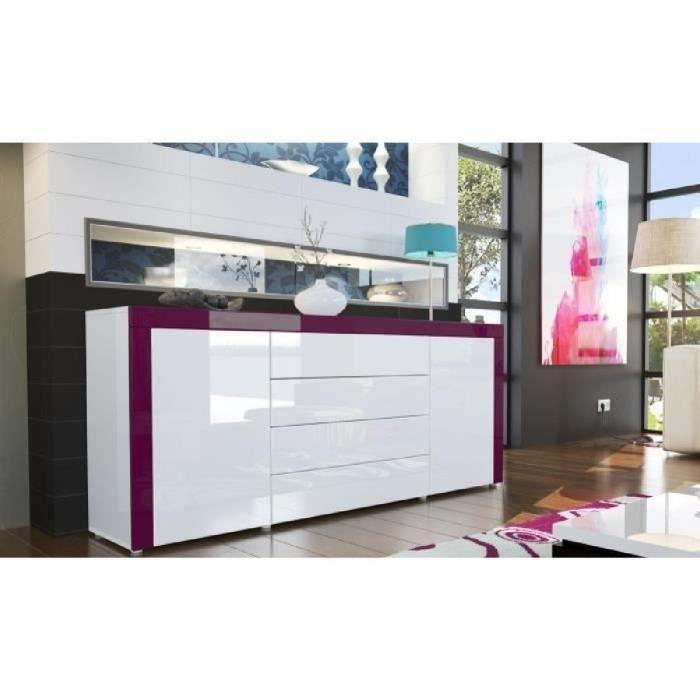 buffet design laqué blanc/blanc/violet