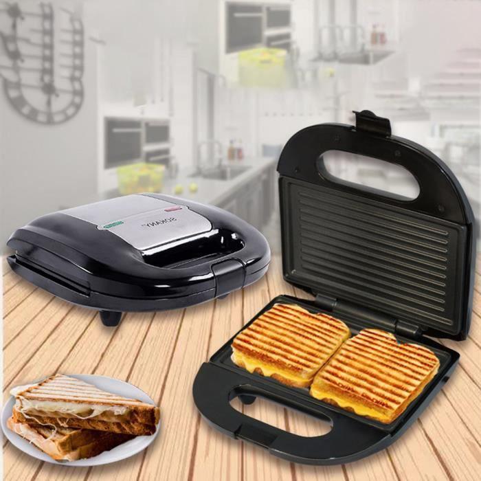 750W Gril Et Sandwich Maker,Fabricant De Muffins Petit Déjeuner,Chauffage Double Face,Revêtement Antiadhésif Facile À Nettoyer