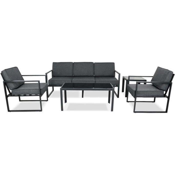 Salon de jardin 5 places en aluminium - ensemble canapé 3 places, 2 fauteuils et 2 tables basses pour 5 personnes