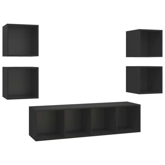 LIS Ensemble de meuble TV 5 pcs Noir Aggloméré 3