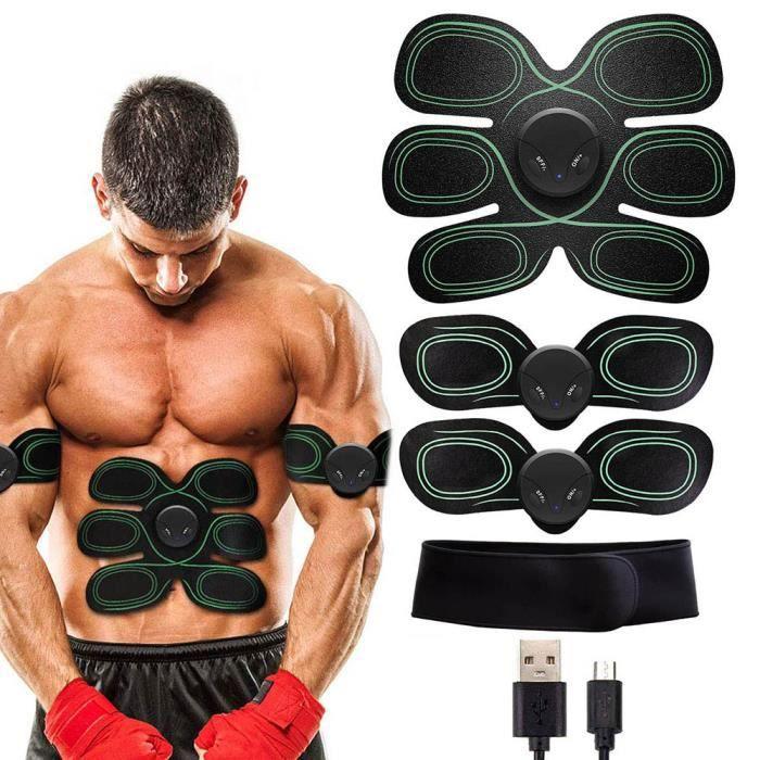 Stimulateur musculaire EMS Abs Trainer Ceinture abdominale Électrostimulateur USB avec ceinture de soutien