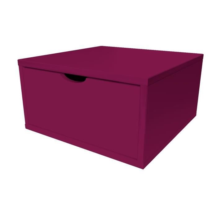 cube de rangement bois avec tiroir largeur 50 cm prune. Black Bedroom Furniture Sets. Home Design Ideas
