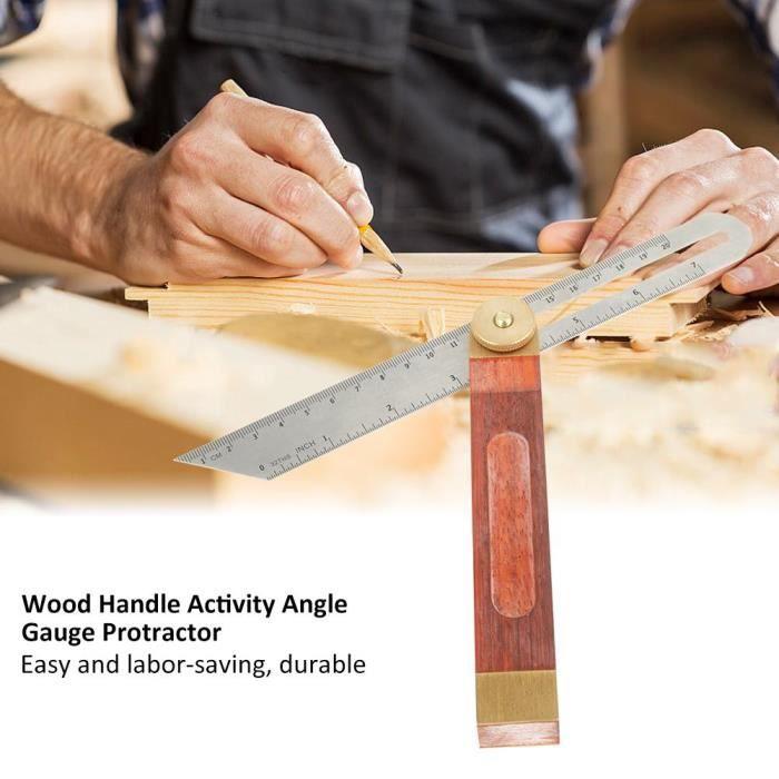 Bois Acier inoxydable Angle Ruler-R/ègle Poign/ée multi angle outil de mesure de la jauge r/églable