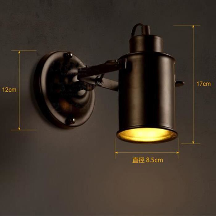 applique r tro lampe murale led industriel mur de feu lampe t te de lit ajustable pour couloir. Black Bedroom Furniture Sets. Home Design Ideas