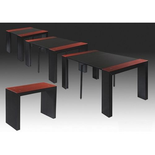 Fragolo console extensible noir rouge achat vente for Table console extensible grise