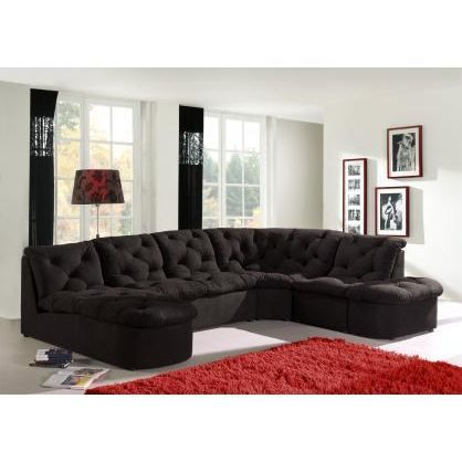 canap d 39 angle modulable cordoba noir achat vente canap sofa divan cdiscount. Black Bedroom Furniture Sets. Home Design Ideas