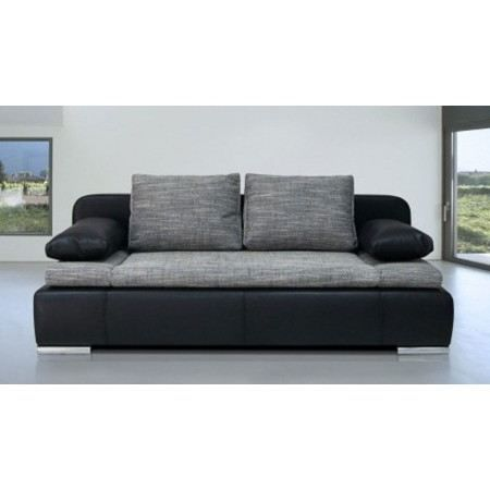 canap lit convertible omega noir gris achat vente canap sofa divan cdiscount. Black Bedroom Furniture Sets. Home Design Ideas