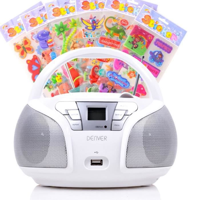 lecteur cd portable usb musique enfants boombox st r o radio blanc autocollants radio cd. Black Bedroom Furniture Sets. Home Design Ideas