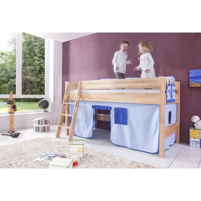 lit mi hauteur enfant avec tente de jeu bleu achat. Black Bedroom Furniture Sets. Home Design Ideas