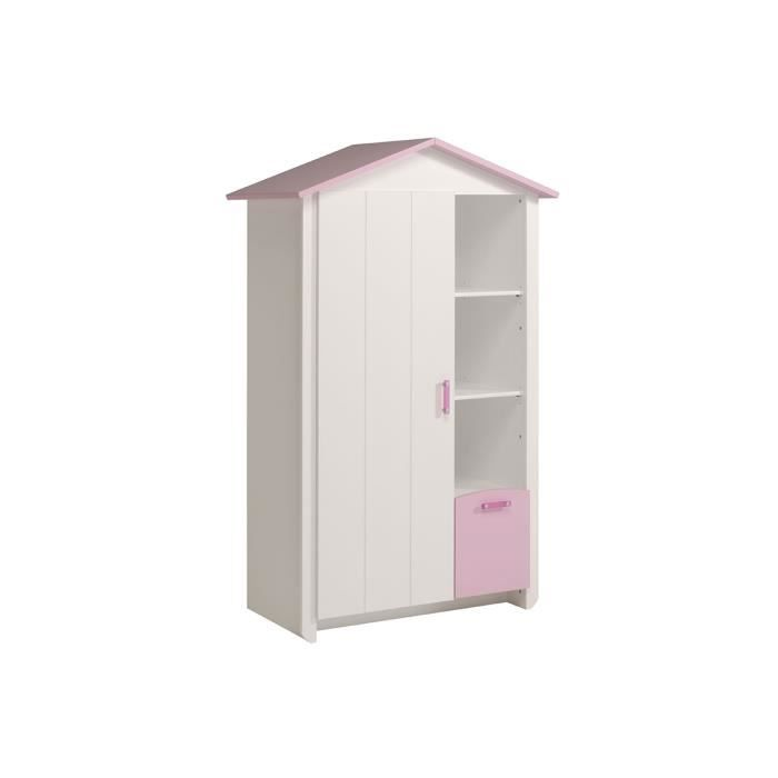 armoire enfant 1 porte 1 tiroir 112x181 blanc et rose. Black Bedroom Furniture Sets. Home Design Ideas