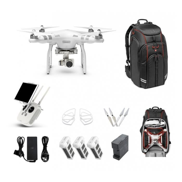 pack drone phantom 3 advanced tout inclus sac dos manfrotto dji achat vente drone. Black Bedroom Furniture Sets. Home Design Ideas