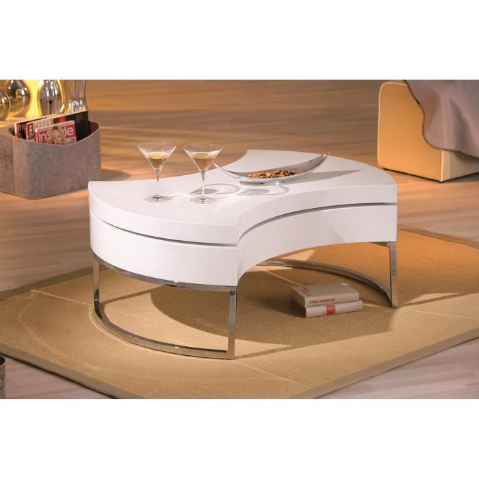 Miliboo table basse design blanc laqu platea achat - Table basse design blanc ...
